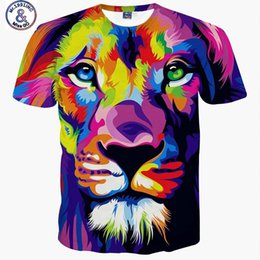 Wholesale Lions Shirt Xl - Fashion style men women 3d T-shirt printing watercolor painting lion animals Tshirt summer cool causal t shirt Hip Hop Rock tops