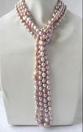Wholesale Baroque Freshwater Pearl Necklace White - 100'' 9mm Lavender Baroque Freshwater Pearl Necklace