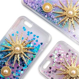 Wholesale Pearl Iphone Case Cover - Liquid Bling Quicksand Case Sunflower Pearl Glitter Star Back Cover For iphone 7 6 6s plus 5 5s SE OPP BAG