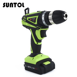 Wholesale 12v Cordless Electric Drill - SUNTOL 12V Electric Screwdriver Lithium-ion Battery Drill Hand Manual Cordless screwdriver Electric Drill Electric screwdriver Torque Drill
