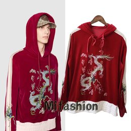 Wholesale Hoodies Woman Velour - Europe Italy Chinese Style Embroidery Velour Pleuche Red Dragon Applique hoodies Jumper Pullover men women fashion Luxury Hooded Sweatshirts