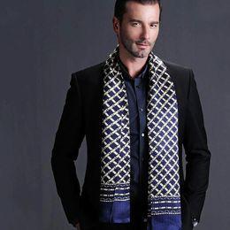 Wholesale Mens Silk Cravats - Wholesale- Fashion Brand Mens 100% Silk Long Scarf Cravat Double Layer Black__ Gifts__For 4 Seasons