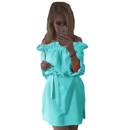 Wholesale Kawaii Mini Dress - Women Spring Summer Chiffon Dress Fashion Ruffles Slash Neck Bow Belt Dresses Vintage Puff Sleeve Kawaii Loose Straight Dress