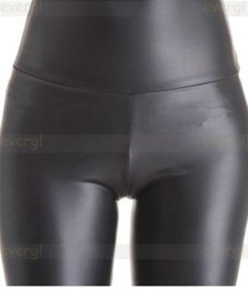 Wholesale Shiny Pants Women Tight - Wholesale- 2015 Stretch Sexy Women High Waisted Faux Leather Look Tight Shiny Pants