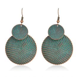 Wholesale Big Stud Earrings For Women - Geometry Double round Earrings Ancient bronze Metal Big Drop Earrings for women girls Fashion Boho Jewelry for party beach Gift