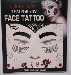 Wholesale Transfer Sticker Tattoos - 2017 Fashion Fright Night Temporary Face Tattoo Body Art Chain Transfer Tattoos Temporary Stickers in stock 9 Styles Free shipping