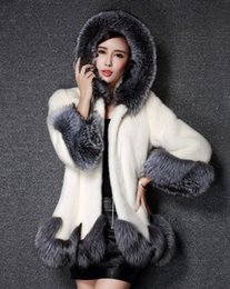 Wholesale White Warm Winter Coat - Luxury Women Faux Fur Hooded Coat Fashion Winter Ladies Imitation Mink Outerwear Jacket warm clothing white black