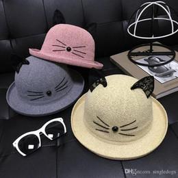 bbedc9f3d8581 Wholesale Cute Children s Cartoon Fisherman s Hat Lace Cat Top Hats Ears  Stingy Brim Hats Free Shipping