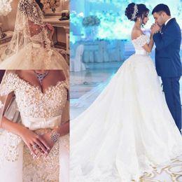 Wholesale Brides Dress Falls Off - Vestidos de novia Dubai Arabic Style Off The Shoulder Beaded Lace Appliques Wedding Dresses 2018 Tulle Bride Dress with Bowknot Sash