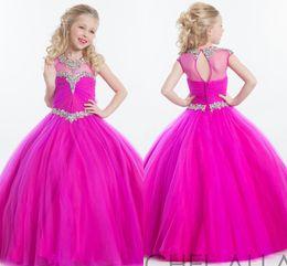 Wholesale Plum Wedding Gown - Tulle Plum Ball Gown Pageant Dresses 2017 Rachel Allan Sheer Neck Rhinestones Beaded Kids Formal Special Flower Girl Wedding Dress HY1140