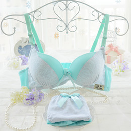 Wholesale Japanese Panty Sets - Cotton bra set lovely Japanese cute underwear sets wire free student sweet ladies small size bra gather push up bra panty set