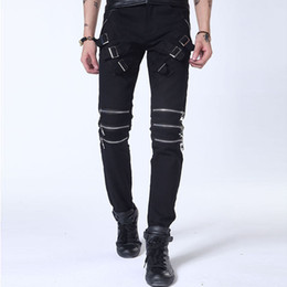 Wholesale Cattle Brands - Wholesale- 2017 fashion personality punk high quality zipper cattle decorative jeans CHOLYL Brand Hip hop street jeans