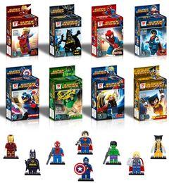 Wholesale Spiderman Blocks - Super heroes minifig 8 roles Marvel's The Avengers Batman Movie Spiderman Super Man Figures Super Heroes Pump Mini Building Blocks Figure