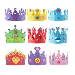 Wholesale 3d Kit Decorations - EVA Foam Birthday Crown for Children Birthday Party Caps Self-adhesive DIY Handmade 3D Eva Crown Hat Craft Kits ZA3595