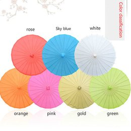 Wholesale Umbrellas China - Free shipping wedding colored paper umbrella, white pink parasols, China traditional dance color parasol, Japanese silk props