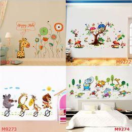 Wholesale Mushroom Nursery - Giraffe with Glasses Flowers Wall Stickers Cartoon Animals Bull Cycling Running Game Mushroom Tree Decals for Kids Nursery Room