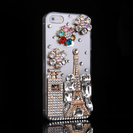 Wholesale Tower Mobile Cover - 30 PCS For iphone 7 7plus 6s 6plus 6splus 6 5s perfume bottle Iron tower Rhinestone phone case Fashion simple mobile phone cover