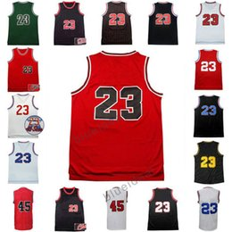 Wholesale Male Logos - Men's Throwback Basketball Jerseys Red Black Basketball Jerseys Clothes #23 Shirt Adult Male #45 Uniforms With Player Name and Team Logos