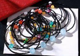 Wholesale Natural Aquamarine 925 - 2017 new beads bracelet bracelet natural black spinel natural beeswax beads Aquamarine pearl beads accessories 925 silver accessories