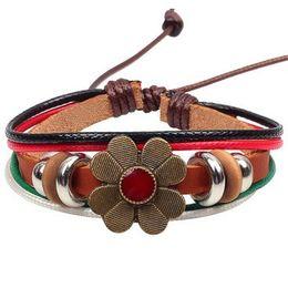 Wholesale Artistic Leather - Lucky flower women BRACELETC Cow Leather Beads Accessories Charm Bracelets BANGLE Wrist Bangles artistic workmanship vintage ornaments
