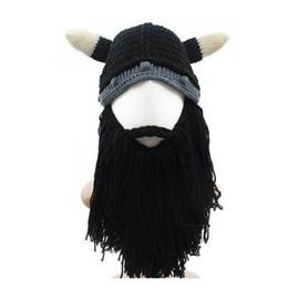 romanzo personalità divertente autunno inverno maglia Big barba bue cappello  Cap Horn cosplay regali vichingo cavaliere Casco creativi di trasporto  libero ... aadf433deb0c