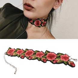 Wholesale flower rose tattoos - 5 Pcs Ethnic Wide Tattoo Necklace For Women Bohemia Rose Flower Embroidery Choker Fashion Collar Jewelry High Quality