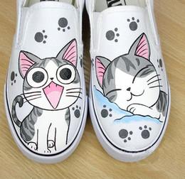 Wholesale Hand Painted Slip Sneakers - Hand-painted Cat Women And Men Sneakers Unisex Slip-On Platform Shoes Low Top Plus Size Canvas Couple Shoes EU25-62