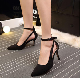 Wholesale Modern Women Office Dress - 2017 fashion brand shoes pointed toe high heel ankle strap buckle modern women pumps Dress office lady Sandals shoes