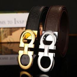 Wholesale Genuine Solid Gold - Wholesale Brand Belts For Men Fashion Designer Belt Luxury Genuine Leather Belt Gold Silver Black Buckle Waistband Free Shipping
