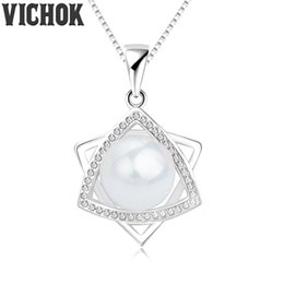 Wholesale K 925 - 925 Sterling Silver Pendant&Necklace Rotate 9mm Pearl Pendant Necklace For Women Fine Jewelry White K Gold Plated Rose Gold Colors VICHOK