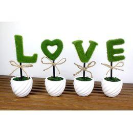 vasi bonsai in ceramica all'ingrosso Sconti All'ingrosso-Mastone Vaso di ceramica AMORE Piante artificiali Bonsai in vaso Simulazione Fiori decorati Floccaggio Fiore 1 PZ