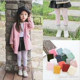 Wholesale Strech Leggings - Baby Pantyhose Leggings Kids Soft Tights Toddlers Lovely Candy Color Stockings Children Strech Long Socks Trousers Kids Dacning Socks H850