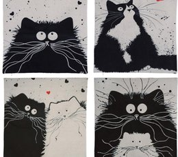 Wholesale Couple Cat Cartoon - 45cm*45cm Cartoon Decorative Pillowcase Cat Pillow Case Married Couples Kitten Cushion Cover Linen