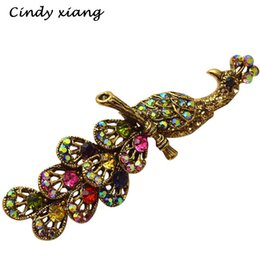 Wholesale Elegant Hats For Wedding - Wholesale- Rhinestone Vintage Peacock Brooches For Women Cute Animal Style Pins Coat Hat Scarf Brooch Elegant Accessories Hot Sale