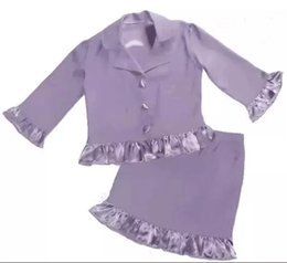 Wholesale Two Piece Taffeta Suit - Formal Girls Pageant Dresses With Buttons Ruffle CUSTOM MADE Kids Special Occasion Dress Interview Suit Cheap Beauty Two Pieces Dress