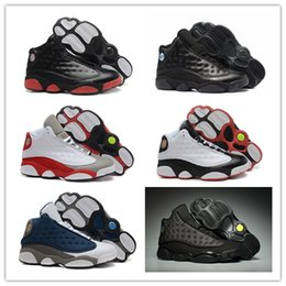 Wholesale Nylons Toes - Wholesale with box 13 XIII Black Cat All Grey Toe Stars 13s Men basketball shoes CP3 Bred sports Brand sneakers size 8-13