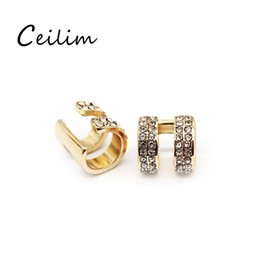 Wholesale Cheap Gold Ear Cuff - Newest minimalist silver gold crystal ear clip for women cute korean stud earrings cheap gold plated jewelry gift 2017 fashion