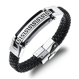 Wholesale Mens Black Leather Bracelets - Promotion Fashion Male Jewelry Leather Bracelet Men Friendship Gold Stainless Steel Mens Bracelets PS4217