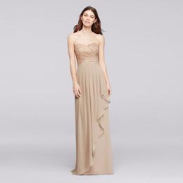 champagner schatz rüsche brautkleid Rabatt Lange Schatz Metallic gekräuselten Rock Champagne Brautjungfer Kleid F19252M Hochzeit Kleid Abendkleid Abendkleider