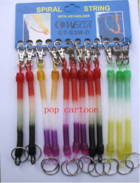 Wholesale Spring Steel Strap - Hot Sale! 12 pcs set Elastic Spring Coiled Plastic Key Chain Key Ring Spiral Strap Stretchy Lanyard