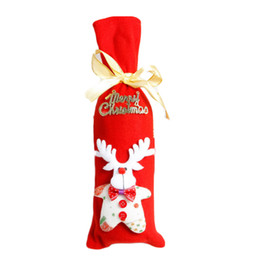 Wholesale Kitchen Ornament - Wholesale- Christmas New Wine Bottle Decor Set Santa Claus Snowman Deer Bottle Cover Clothes Kitchen Decoration for New Year Dinner Party