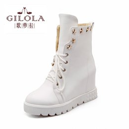 Wholesale Wholesale Platform High Heels - Wholesale- 2016 size 34-43 fashion wedge high heels platform women boots snow shoes woman autumn boots winter women's new #Y1101306F