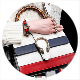 Wholesale One Shoulder Tote - Wholesale- 2016NEW The navy stripe red stitching packages hand bags The bamboo handle handbag One shoulder inclined shoulder bag Female bag