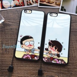Wholesale Doraemon Mobile - Lovers mobile phone shell For iphone 6 7 Plus Cartoon Doraemon Chibi maruko Detective Conan phone cases Mirror surface TPU Soft protection