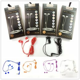 Wholesale Purple Headset Mic - skylette OEM For 3.5mm Headphones In-Ear Earphone handfree with Mic colorful Headset Earbuds for all smart mobile phone with packing