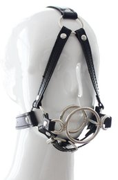 Wholesale Leather Steel Harness Sex - 2016 Sex Bondage Restraints PU Leather Head Harness Open Mouth Gag Double Stainless Steel O Ring Head Bind Mask Sex Toys New