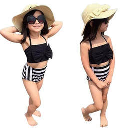Wholesale Infant Girls Bathing Suits - 2017 Summer Infant Children New Kids Baby Girls Stripe Bikini Sets Swimwear Swimsuit Bathing Suit Beachwear Gifts free shipping