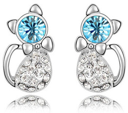 Oro blanco libre de níquel online-2017 Cat Stud Earrings White Gold Color Austrian Crystal Pendiente Nickel Free Silver Earrings For Women