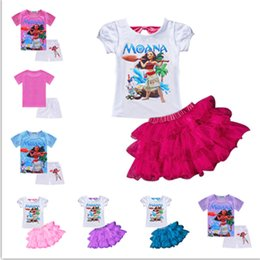 Wholesale Cartoon T Shirts For Kids - New 2017 Summer baby girl Ocean princess party dresses for girl cartoon Moana dress for kids 2-8 girl clothes T-shirt+ball gown