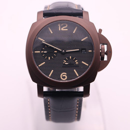 Wholesale Pam Sapphire - High-end luxury brand PAM lum1950 series 00441 black dotted steel dial leather strap power reserve display automatic mechanical watch